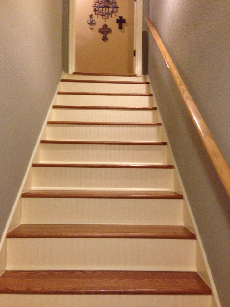 New Stairs Wood Treads With Painted Bead Board Kick