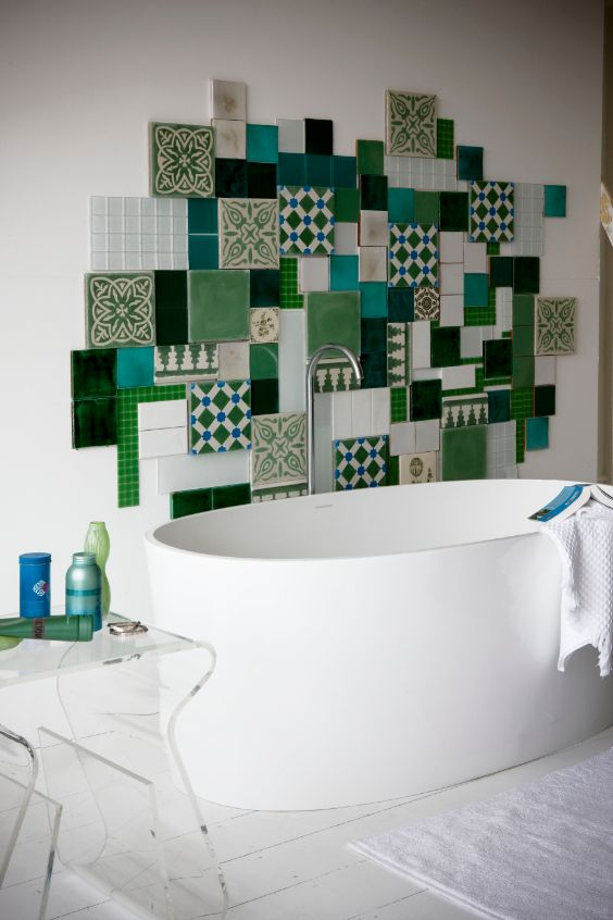 Creative and whimsical patterned tile collection makes this bathroom unique