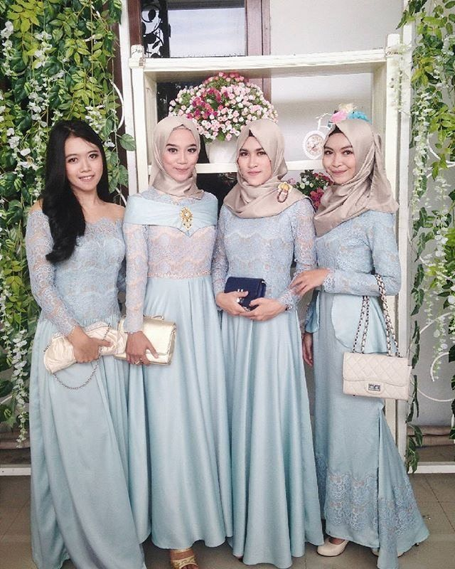 Shades of blue dresses bridesmaid kebaya