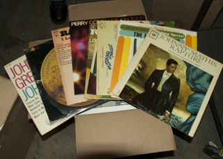 LARGE LOT OF VINYL RECORDS INCLUDING JOHNNY MATHIS, RAY CONNIFF, PERRY COMO, AND MANY MORE.