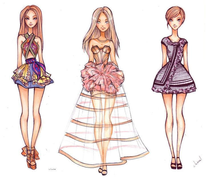 Copic marker fashion drawings of dresses