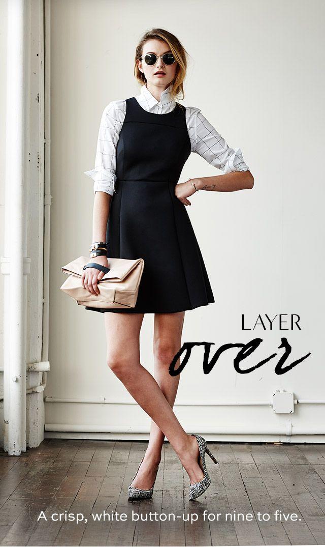 Patterned shirt under black dress