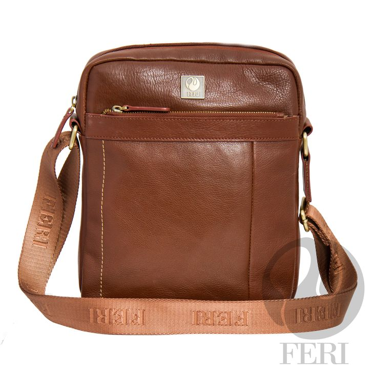 """Orson Murse – Brown – C$816 http://bit.ly/1KvK0ZY - Deep Brown leather - Dimension: 10.62"""" x 10.23"""" x 3"""" - Customized FERI Lining - Adjustable nylon shoulder strap with FERI embossed - Zip closure - Front flat pocket with zip closure and back pocket - Interior zip pocket - Tablet padding and smart phone pocket"""