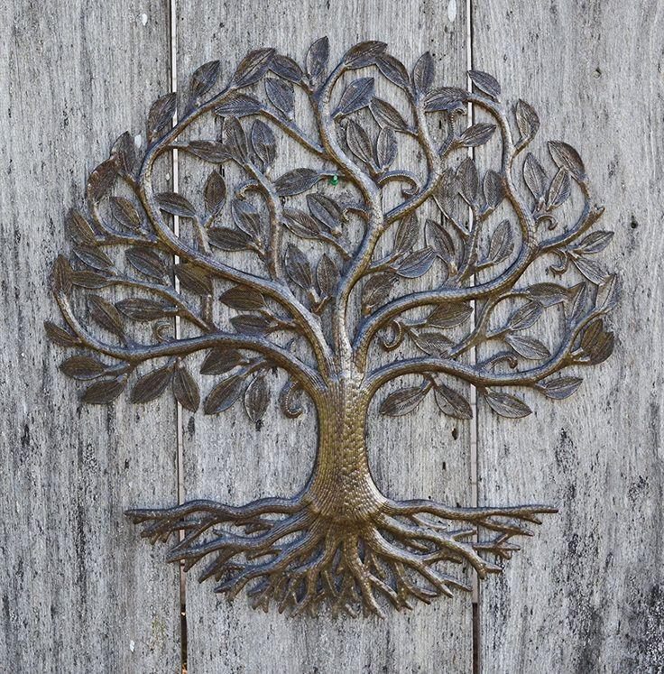 "Metal Wall Art, Haiti, Tree of Life, Recycled Steel Garden Art, Fair Trade, 23"" X 23"""
