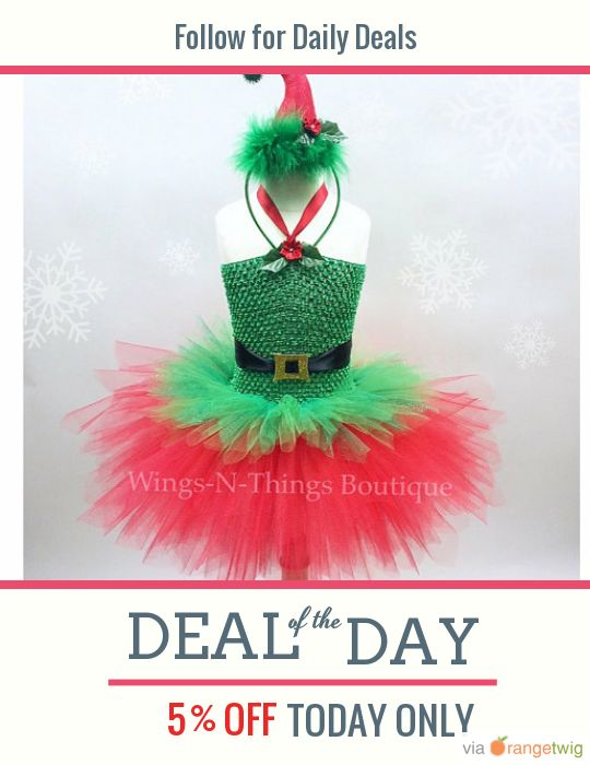Today Only! 5% OFF this item. Follow us on Pinterest to be the first to see our exciting Daily Deals. Today's Product: CHRISTMAS ELF TUTU Dress Set w/ mini Elf Hat Headband, Childrens Christmas Costume, Santa's Little Helper, Xmas, Girls, Toddler, Kids Buy now: https://orangetwig.com/shops/AABoCtX/campaigns/AABoCFZ?cb=2015012&sn=wingsnthings13&ch=pin&crid=AABoCb0&exid=254383744