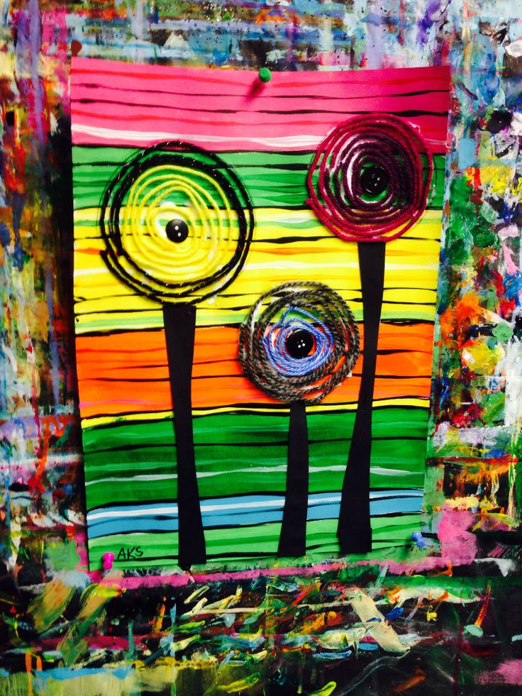 Hundertwasser lesson for kids using acrylic paint, yarn ...