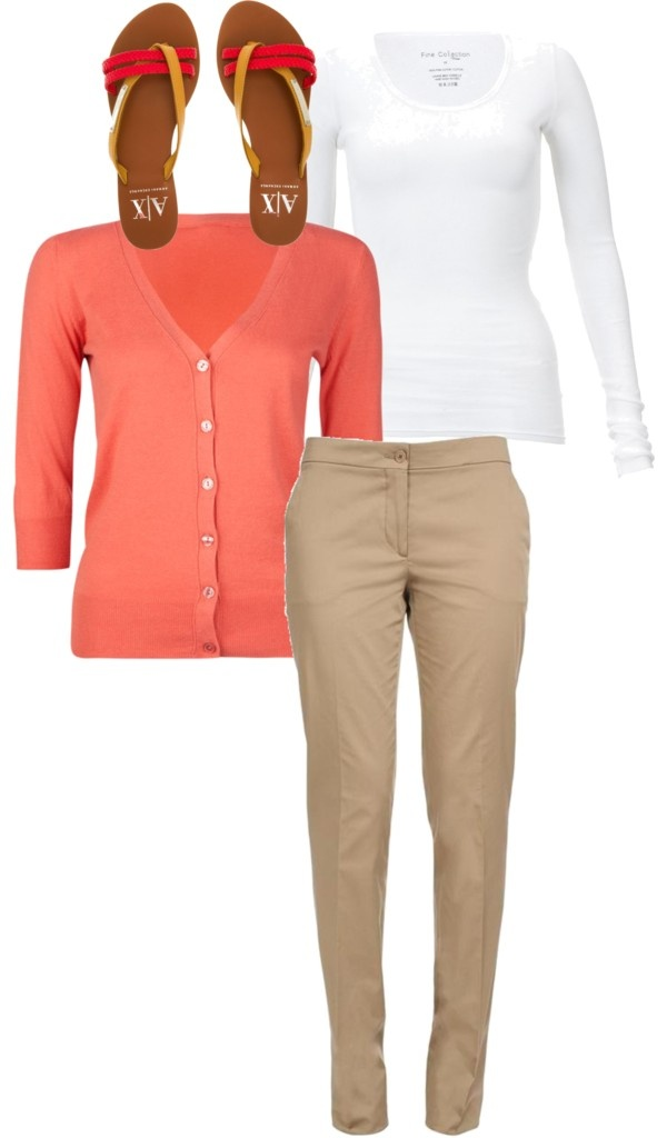 Coral cardigan with beige trousers, white top and bright sandals