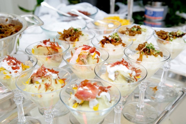 Mashed Potato Martini bar! Like the idea but the potatoes would get cold quickly.