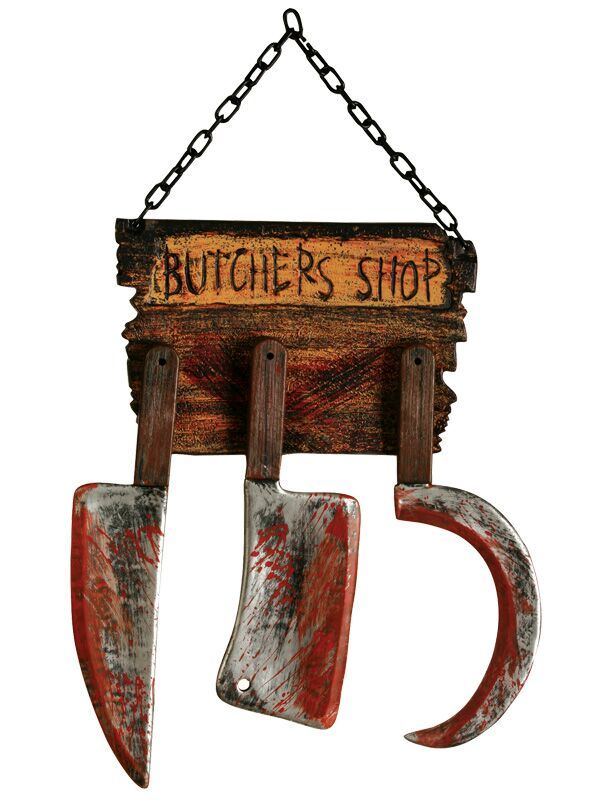 butcher shop sign with cleavers sickle on chain party supplies online australias biggest online party shop