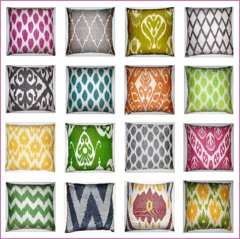 throw pillows!: Pillows Covers, Decor Ideas, Ikat Pillows, Ikat Fabrics, Interiors Design, Throw Pillows, Design Elements, Design Blog, Ikat Patterns