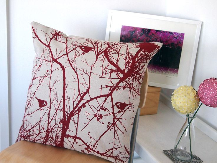 Winters Nest Cushion Cover.  Red on Natural, Charcoal on Grey also available.
