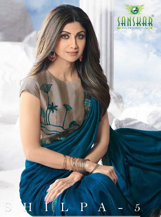 13e975058c091 Sanskar Tex Prints Shilpa Vol 5 Designer Fancy Fabric Party Wear Sarees  Collection at Wholesale Rate