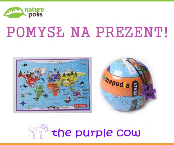 Mapa świata to coś, co każde dziecko powinno mieć :) Polecamy w wersji puzzlowej :)  https://www.naturepolis.pl/pl/puzzle/2948-the-purple-cow-puzzle-100el-mapedia-mapa-swiata-od-6-roku-7290014368705.html