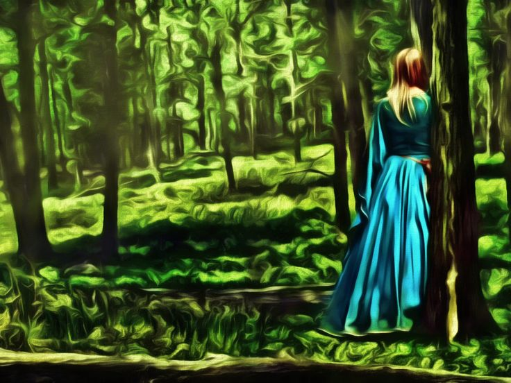 Alone In The Forest! A digital art work by Dan Newburn from a photo found on the Internet.