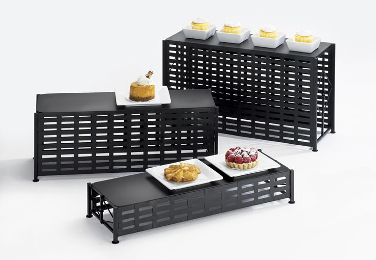 Iron Rectangle Risers Item: 1247-3, 1247-7, and 1247-11. These risers are a great addition to any buffet, party, or catering event! They can be used altogether or in single units to display any kinds of foods or desserts! http://www.calmil.com/index.php?page=shop.product_details&flypage=flypage.tpl&category_id=24&product_id=127&option=com_virtuemart&Itemid=51