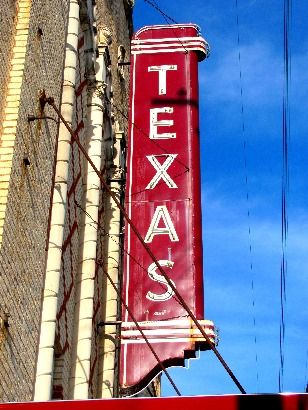Texas Theatre sign on West Jefferson Blvd (Dallas, Texas)