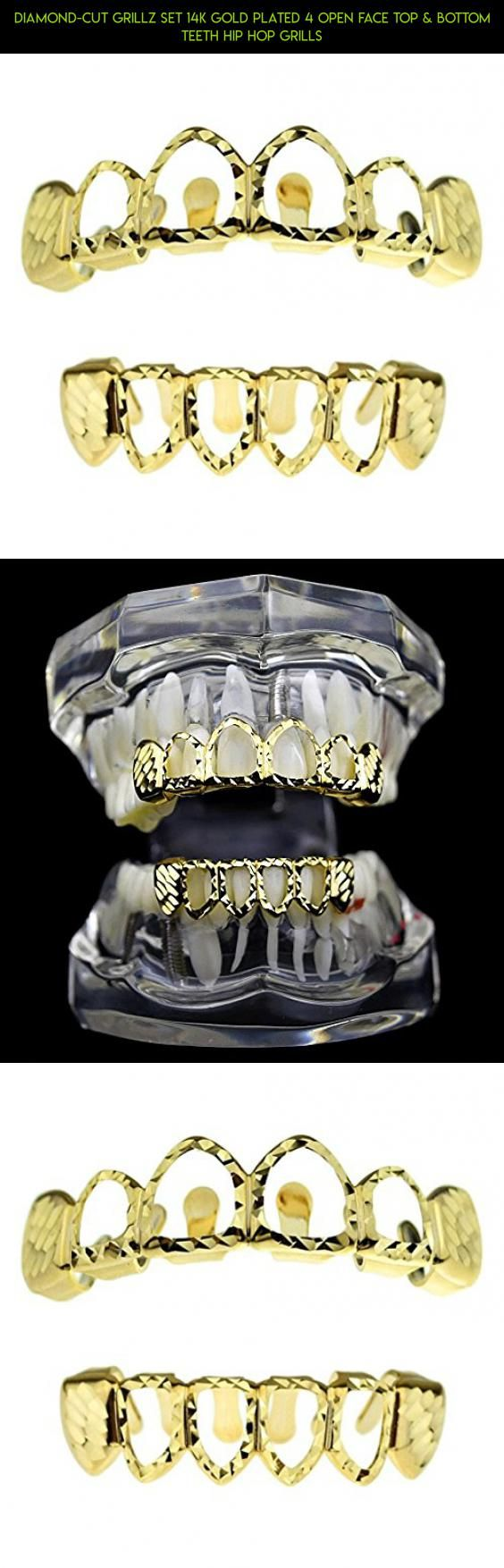 Diamond-Cut Grillz Set 14K Gold Plated 4 Open Face Top & Bottom Teeth Hip Hop Grills #racing #tech #diamond #plans #gadgets #camera #drone #grills #kit #fpv #teeth #technology #products #parts #shopping
