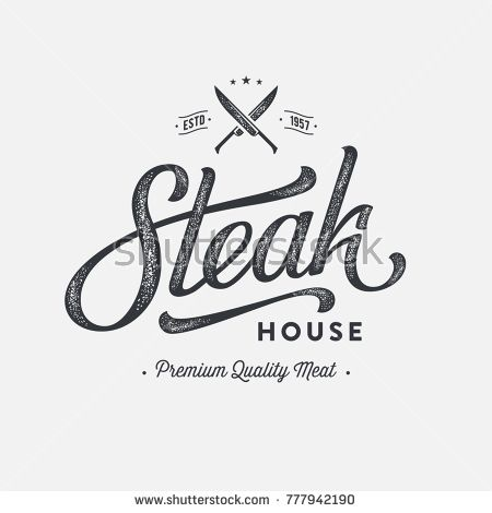 Steak House or Meat Store Vintage Typography Labels, Emblems, Logo Templates. Ha…