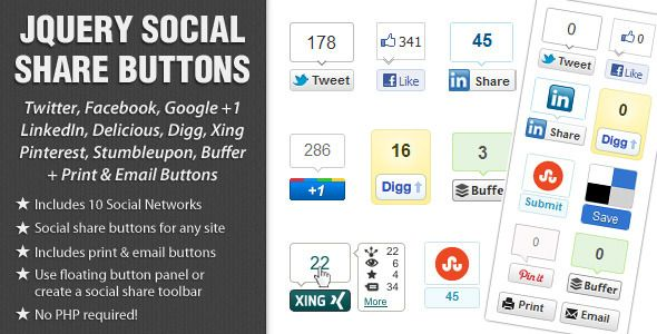 All our Premium jQuery plugins - jQuery Social Share Buttons, jQuery Social Media Tabs and jQuery Social Stream are mentioned in Narga's 25+ Useful jQuery Plugins for Working with Social Media
