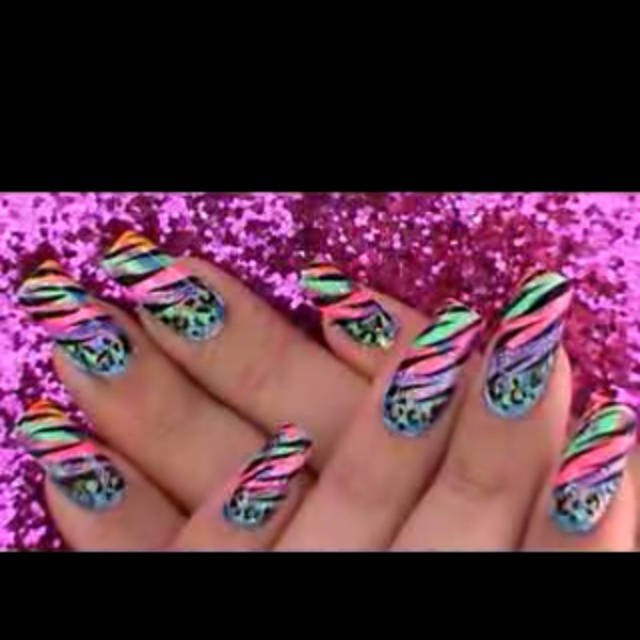 Love this neon color design from YouTube user love4nails I love all her designs y'all should check out her videos!