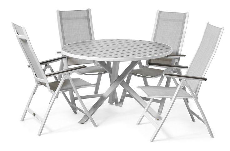 Produktbild - Modena, Trädgårdsgrupp med runt bord inkl. 4 positionsstolar Verona