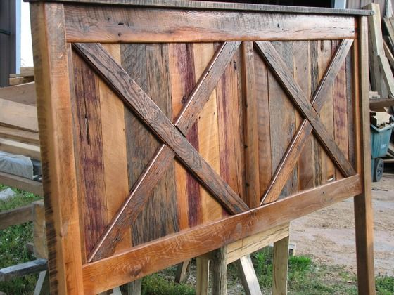 DIY barn wood headboard.