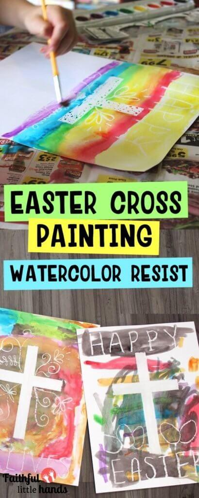 Easter Cross Watercolor Resist Painting
