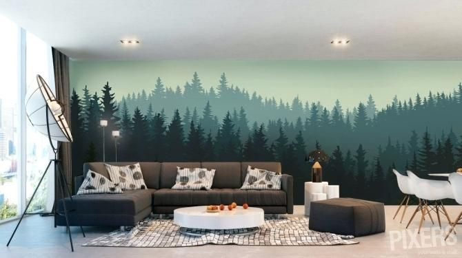 Forest Themed Living Room Misty Forest Wall Mural Jungle Themed