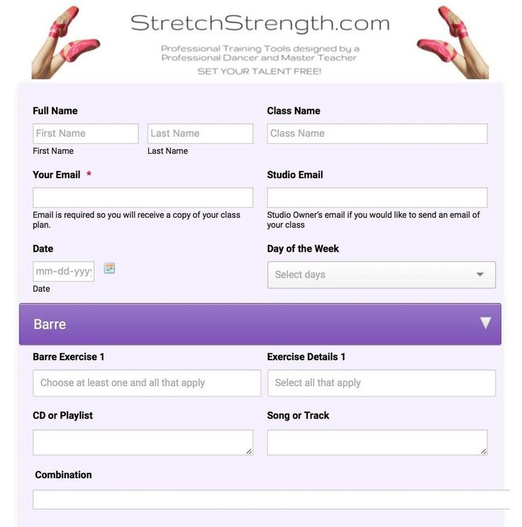Online Dance Class Planner - Ballet - Create, Save, Share and organize your Ballet Classes online from any online computer, phone or tablet. Class is emailed!