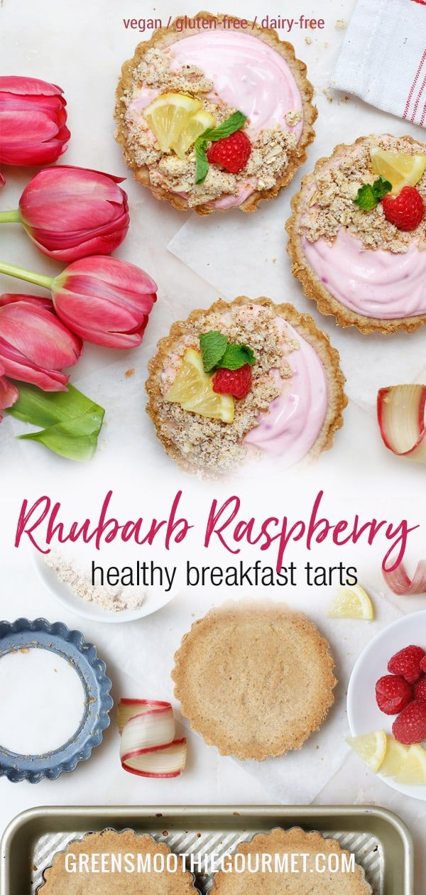 Raspberry-Rhubarb Healthy Breakfast Tarts (gluten-free, dairy-free, vegan, workout food)