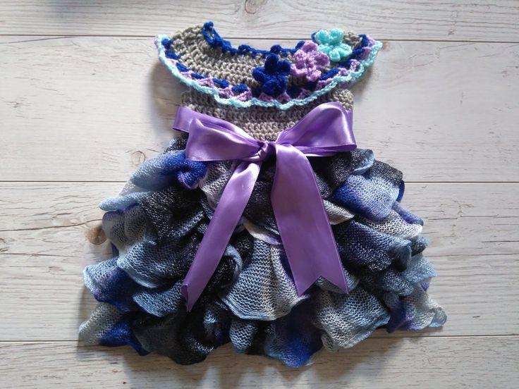 Ruffle baby dress Crochet pattern
