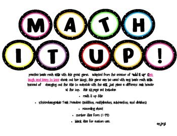 Free Math It Up game. I'm excited to use this with my 5th graders!: Math Games, 5Th Grade Math Intervention, Math Centers, Math Skill, Teaching Math, Free Math, Games Math, Classroom Ideas