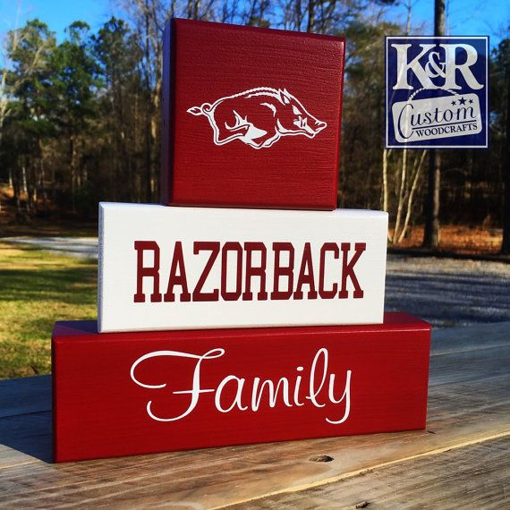 Hey, I found this really awesome Etsy listing at https://www.etsy.com/listing/118530274/arkansas-razorback-family-painted-block