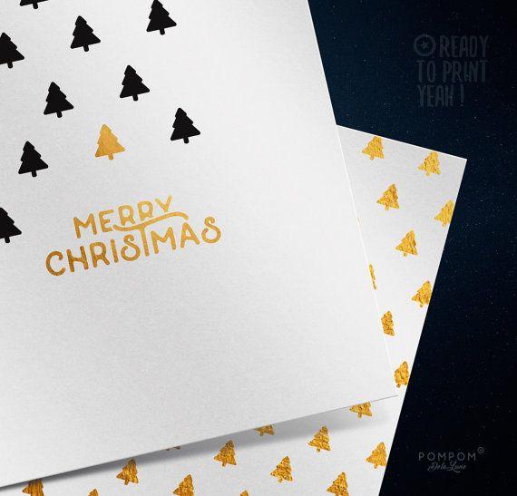 Carte de voeux À IMPRIMER Carte de noël Merry Christmas carte de voeux imprimable Enveloppe DIY étiquettes cadeaux noir Sapins or Carte de voeux carrée deux volets + enveloppe + étiquettes cadeaux à monter inclus TÉLÉCHARGEMENT NUMÉRIQUE INSTANTANÉ 1 FICHIER ZIP contenant PDF et jpg 300 DPI  À noter : - Les couleurs peuvent varier selon l'écran, le papier utilisé ou l'imprimante - Il sagit dun achat numérique, aucun envoi postal et cadre non fourni  MODE DEMPLOI  - Choisissez votre fichier…