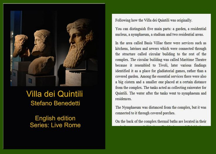 A vast and beautiful archaeological area in the center of #Rome: #Villa dei #Quintili (English and Italian) https://www.amazon.com/Villa-Quintili-Live-Rome-Book-ebook/dp/B01MRGLC6K/ref=asap_bc?ie=UTF8
