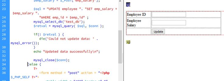 Updating Data into MySQL Database Php HTML Form - http - employee update form
