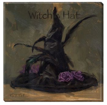 purple crooked witch hat