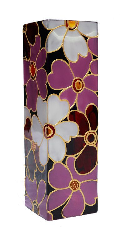 Hand Painted  Vase glass vase  floral botanical  design  flower pink purple white yellow art deco home decor
