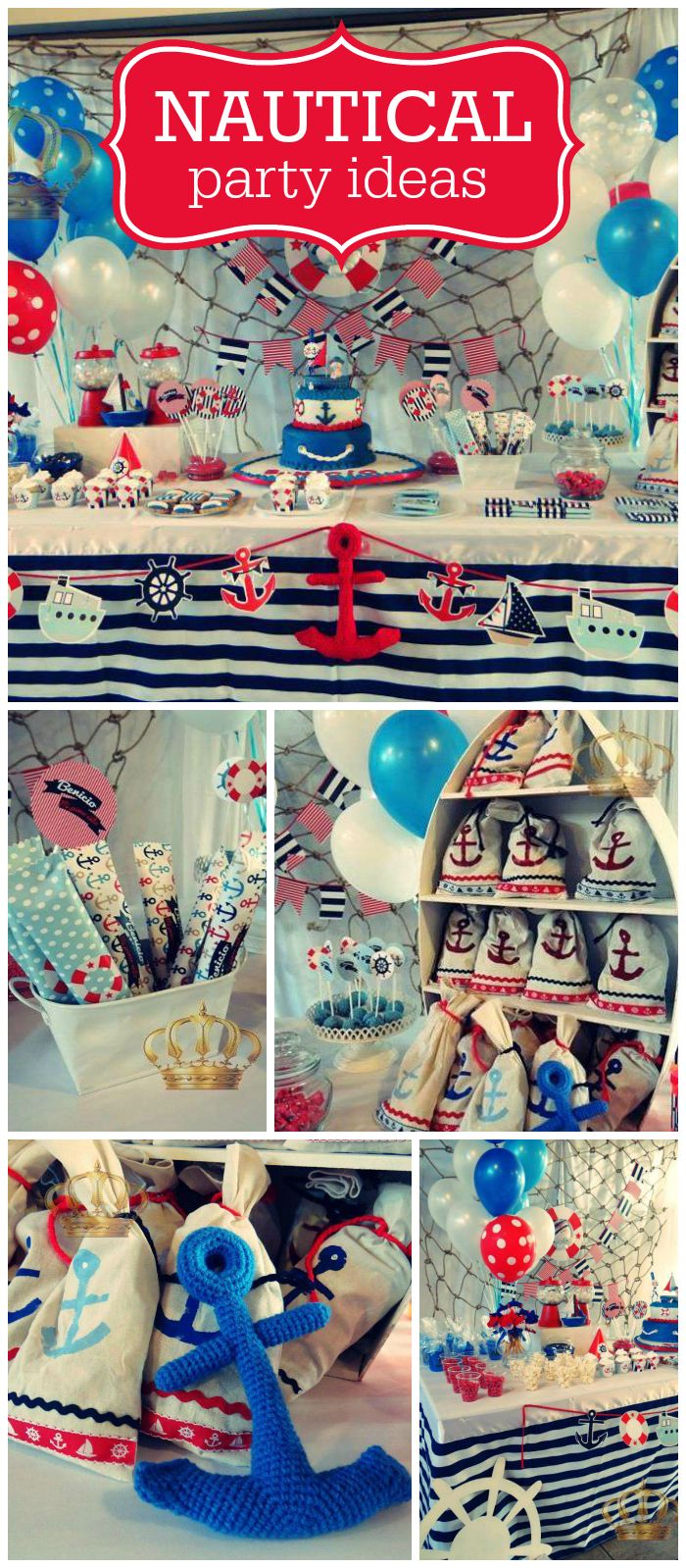A nautical themed boy birthday party in blue, white and red with seaside treats and decorations! See more party planning ideas at CatchMyParty.com!