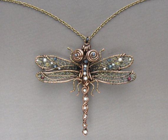 Dragonfly Necklace Copper Jewelry Wire Wrapped by LizaKusilova