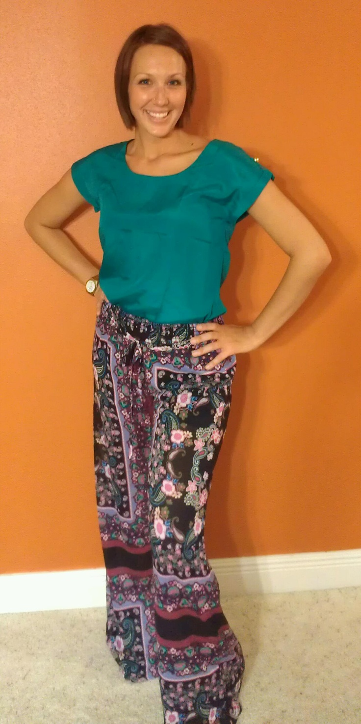 Palazzo Pants amp teal shirt with peekaboo back and gold button details