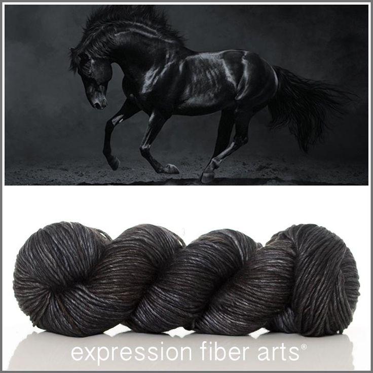 Expression Fiber Arts, Inc. - RESTLESS SUPERWASH MERINO SILK PEARLESCENT WORSTED YARN - deep, multi-tonal charcoal...nearly black!
