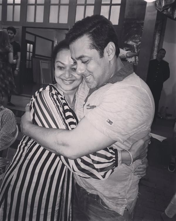 Salman Khan with Sooraj Pancholi's mom Zarina Wahab.