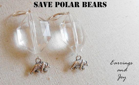 Earrings Polar Bears. Save polar bears. Earrings by EarringsandJoy