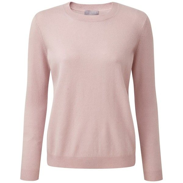 Pure Collection Deanna Cashmere Jumper, Oyster (195 CHF) via Polyvore featuring tops, sweaters, plus size jumpers, crew sweater, long sleeve sweater, womens plus sweaters and plus size tops