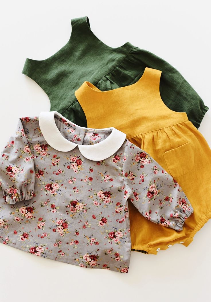 Handmade Linen Baby Rompers & Floral Blouse | TsiomikKids on Etsy https://presentbaby.com
