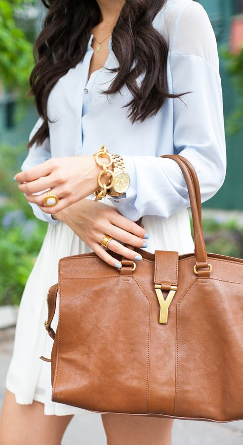 Saint Laurent Caramel Smooth Leather Large Purse by With Love From Kat