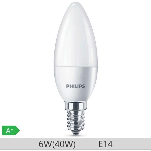 Bec LED Philips 6W E14 B35 470lm lumina calda