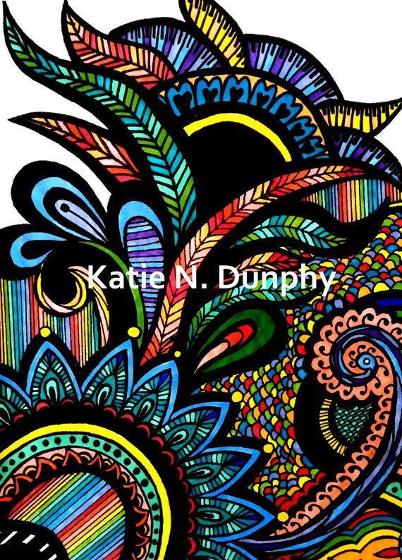 Line Drawing Rainbow : Henna mehndi rainbow line drawing print by
