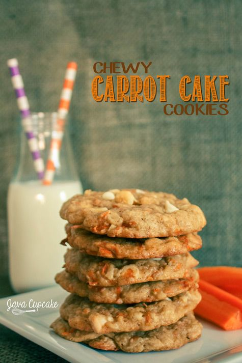 Chewy Carrot Cake Cookies | JavaCupcake.com.  Add one more cup of flour.  I used carrot pulp from juicing.  Yum!